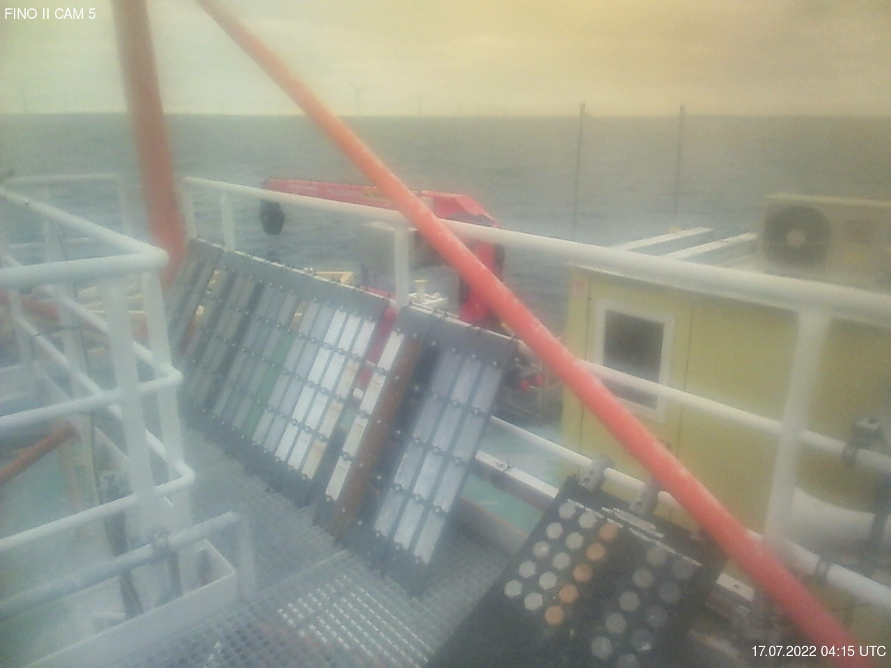 Overlooking the deck of the research platform